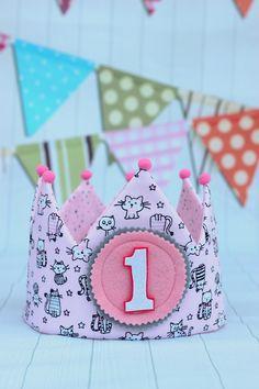 Corona de cumpleaños niña, corona de tela, corona infantiles, cumpleaños