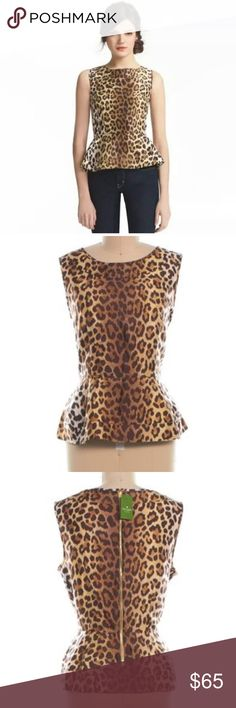 Kate Spade Randi Leopard Peplum 10 Kate Spade Randi Leopard Peplum 10 new never worn. I pulled the tag off but I can include it. kate spade Tops