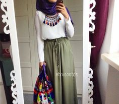 Khaki|Green|Maxi|Skirt|Spring|Outfit|Party|Formal|Outfit|Necklace|White|Blouse