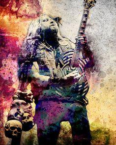 Zakk Wylde Art Heavy Metal Original Painting Art Print Ozzy Osbourne