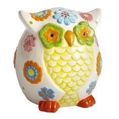 Entrust your money to this wise Floral Owl Bank @Anna Bennett I think Miss N needs this guy!