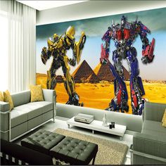 3D Optimus Prime Wallpaper Transformers Photo wallpaper Large Autobot Wall Mural Room decor Wall art Boy's Bedroom Kid's room #Affiliate
