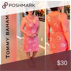 RESORT- LNWOT coral pink keyhole v neck dress Polka dot abstract flowers and a keyhole accent at bust are fun and beachy.  Perfect for warmer temps.  98% cotton and 5% spandex. Tommy Bahama Dresses