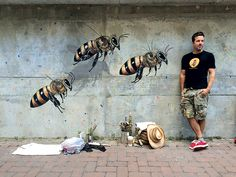 Man Paints Murals to Bring Attention to the Plight of Honeybees - http://modernfarmer.com/2016/12/man-paints-murals-bring-attention-plight-honeybees/?utm_source=PN&utm_medium=Pinterest&utm_campaign=SNAP%2Bfrom%2BModern+Farmer