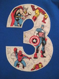 but with a 2!!    Pick Your SuperHero Appliqued initial or Birthday Number sslv shirt. $19.50, via Etsy.
