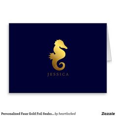 Personalized Faux Gold Foil Seahorse Stationery Note Card