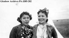 Margaret Crowfoot and Annie Royal, Blackfoot (Siksika) reserve, Alberta. Date: 1938 or 1939. Photographer/Illustrator: Hanks, Jane and Lucien.