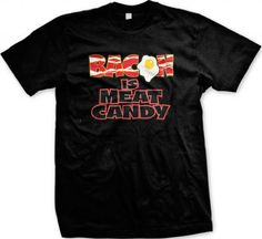Bacon Is Meat Candy Mens T-shirt Hilarious Funny Bacon Design Mens Tee (Black Large)