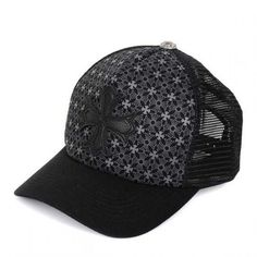 77c86cb505f3 Chrome Hearts CN Sale Caps Black Leather Cross Imprinted Trucker 736CM7