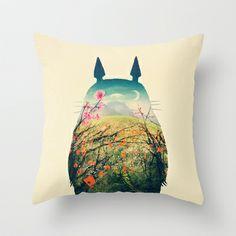 Tonari no Totoro Throw Pillow by Victor Vercesi - $20.00
