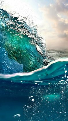 f71be593ab Beautiful deep blues and aqua ocean wave.