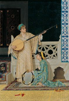 Osman Hamdi Bey, Two Musician Girls, oil on canvas, Pera Museum, Istanbul Portrait Photos, Portraits, Empire Ottoman, Albert Bierstadt, Google Art Project, Turkish Art, Art Database, Fine Art, Islamic Art