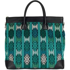 SCALO - Eaton Eccentric ($745) ❤ liked on Polyvore featuring bags, handbags, tote bags, blue leather purse, blue tote, vintage leather tote, leather tote and handbags totes