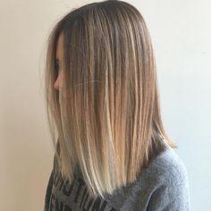 Blunt Balayage Lob for Fine Hair