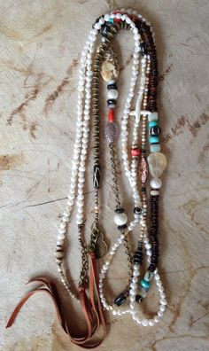 Miles of Pearls stones antique metals and by JulieMoloneyDesigns