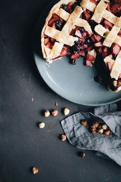 apple, blueberry + hazelnut deep dish pie