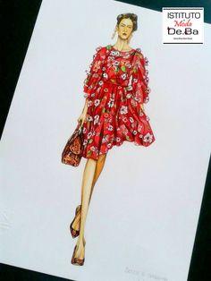 Eccolo terminato! Abito Dolce&Gabbana 2014. Materiali utilizzati: Pantoni,Pastelli colorati,Micropunta,Tempere,Smalto. Good job!