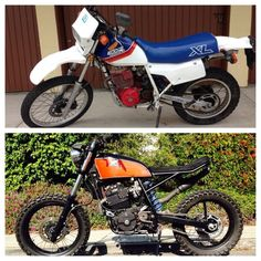 1987 Honda Top - June 2013 Bottom - February 2014 Just goes to show you can modify any bike to be what you want! Honda Scrambler, Honda Cafe, Honda Xl, Cx500 Cafe, Cafe Racer Motorcycle, Cafe Racer Bikes, Moto Cafe, Cafe Bike, Hors Route