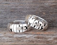 Hand Carved Date Ring Silver by SignatureRings on Etsy