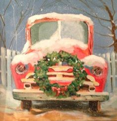 """Christmas Jalopy"" - Original Fine Art for Sale - © Margie Whittington (christmas paintings) Christmas Truck, Christmas Signs, Christmas Pictures, Christmas Projects, Winter Christmas, Vintage Christmas, Christmas Holidays, Christmas Decorations, Christmas Ornaments"