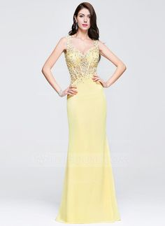 [US$ 187.99] Sheath/Column Sweetheart Floor-Length Chiffon Prom Dress With Beading Appliques Lace Sequins