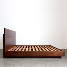 Hanko Plinth Bed   Etsy Diy Furniture Chair, Bedroom Furniture Design, Bedroom Ideas, Bedroom Decor, Simple Bed Designs, Simple Bed Frame, Wooden Picnic Tables, Timber Beds, Minimalist Bed