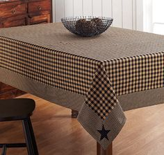 New Primitive Country BLACK TAN  CHECK STAR TABLECLOTH Applique Table Cloth 80""