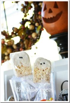 Rice crispy ghost treats.  (Even easier when you use the individually wrapped treats and round off the top square edges). Found at http://www.theidearoom.net/2011/10/rice-krispie-barhalloween-ghosts.html