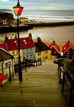 'The 199 Steps' in Whitby, Scarborough, North Yorkshire, England. A definitely must see travel destination within England. Places Around The World, Oh The Places You'll Go, Places To Travel, Places To Visit, Around The Worlds, Whitby England, England Uk, Scarborough England, Bristol England