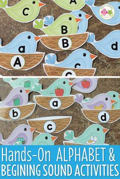 Bird alphabet and beginning sound activity is perfect for preschool, pre-k, and kindergarten kids.  The hands-on literacy activity has many options (uppercase, lowercase, illustrations with/without labels.....).  Kids enjoy flying the birds and placing them in their nests.....a fun way to teach letters and beginning sounds!  Great for spring, Easter, bird themed units and literacy centers.
