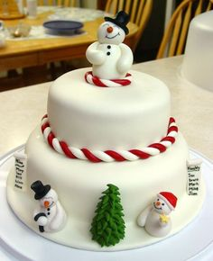 Here's the cake I made with the snowmen I posted a little earlier. I added the top snowman - he's made of fondant. All of the other decorations are gum paste. I watched aine2's videos on how to make the snowmen and trees!