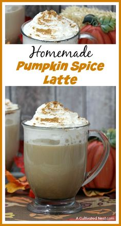You don't have to go out to the coffee shop to get a delicious latte! Make your own homemade pumpkin spice latte easily and exactly to your tastes! It's a delicious hot fall drink! This delicious homemade pumpkin spice latte is the perfect hot fall drink! Pumpkin Recipes, Fall Recipes, Coffee Drink Recipes, Coffee Drinks, Homemade Pumpkin Spice Latte, Pumpkin Dessert, Coffee Shop, Iced Coffee, Cooking Recipes