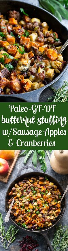 This delicious Paleo Butternut Squash Sausage Stuffing with apples and cranberries has all the flavor of traditional Thanksgiving stuffing or dressing but is grain free, gluten free, dairy free and Whole30 friendly too! Toasty, sweet roasted butternut squash and savory sausage form the base for this Paleo style holiday favorite.