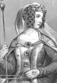 """Philippa de Hainaut (1311-1369). Reine consort d'Angleterre. Philippa est née à Valenciennes et était la fille de Guillaume 1er de Hainaut et Jeanne de Valois. L'évêque Stapeldon envoyé par le roi Edouard II pour demander sa main pour son fils (futur Edouard III) la décrit ainsi : """"she is brown of skin all over, and much like her father"""". En somme une femme noire comme son père. L'image ci-dessus est donc falsifiée, car elle présentée comme étant blanche."""
