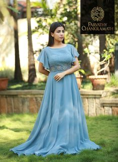 Best 12 Whatsapp on 9496803123 to customise handwork and cutwork sarees dresses bridal sarees lehengas gowns kids dresses etc – SkillOfKing. Long Gown Dress, Frock Dress, Saree Dress, Dress Skirt, Designer Anarkali Dresses, Designer Gowns, Designer Wear, Frock Design, Gown Party Wear