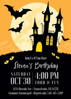 Invite guests to your Halloween party with these spooktacular 5 x 7 haunted house Halloween invitations. Great for kids birthdays, adult costume parties, and more. Halloween Birthday Party Invitations, Haloween Party, Halloween Party Poster, Halloween Party Invitations, Halloween Clipart, Happy Halloween, Halloween Haunted Houses, Halloween Kids, Halloween Invitaciones