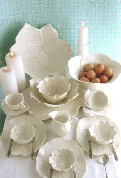 White ceramic flowers.