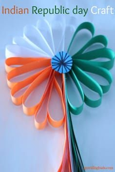 Simple Indian Republic Day Craft Idea Made This Beautiful Paper Flower With The Tricolor Of