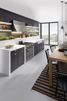 Dunkle Küche Mit Schwarzen Fronten, Schwarz Weiß, Modern, Idee, Design,  Skandinavisch