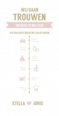 Moderne langwerpige trouwkaart in pastel roze en goud met een tijdlijn van de trouwdag gesierd door icoontjes. Je kunt elk icoontje wijzigen of vervangen door andere icoontjes zodat het een origineel uniek kaartje wordt.
