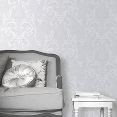 Muriva Juliette Wallpaper Grey / Silver - Muriva from I love wallpaper UK Damask Wallpaper, Love Wallpaper, Pattern Wallpaper, Floor Decor, Low Lights, Floating Nightstand, Small Spaces, Lilac, Tapestry