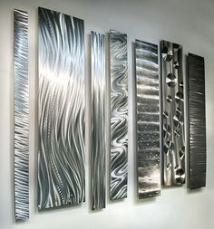 Metal Abstract Wall Art Hanging / Large Silver by JonAllenMetalArt