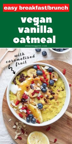 This vegan vanilla oatmeal is like having dessert for breakfast. It's energizing, packed full of protein and ready in under ten minutes. Serve with caramelized banana and orange pieces for a fruity treat! Vegetarian Comfort Food, Vegetarian Cooking, Comfort Foods, Oatmeal Toppings, Vegan Oatmeal, Cinnamon Oatmeal, Vegan Protein Powder, Peanut Butter Protein, Ten Minutes