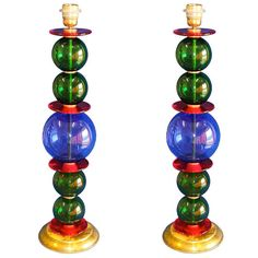 Pair of Murano glass in brass frame table lamps attrib. to Carlo Scarpa for Venini, Venice, Italy c. 1945