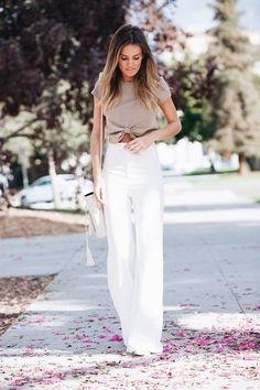 44 Summer White Linen Pants Outfit for Women - Bellestilo Summer Pants Outfits, Stylish Summer Outfits, Spring Outfits, Casual Outfits, Work Outfits, Wide Leg Pants Outfit Summer, White Pants Summer, White Slacks, White Wide Leg Pants