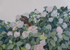 Self portrait hiding in the hydrangeas - watercolour on paper 2012