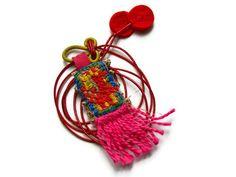 VariousOf - Talisman Textile Necklace. Embroidered Amulet. Charm. Keep sake. Handmade. OOAK