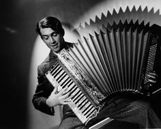 Jimmy Stewart and his accordion. Did you know that he got his start in show business by playing his accordion?!