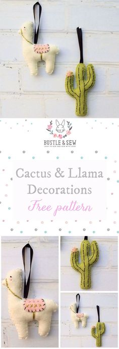 Felt Llama & Cactus Decorations - a free sewing pattern from Bustle & Sew. 2017 has definitely been the year of the cactus - and the llama too! So I thought it would round the year off nicely by finishing with two simple felt decorations perfect for even the most on-trend tree!   free sewing pattern   felt   Christmas decorations   cactus   llama   handmade Christmas   felt cactus   felt llama