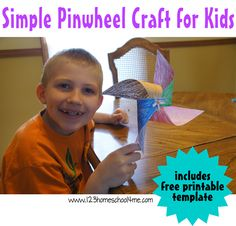 Simple Paper Pinwheel Craft for Kids - All you need is this free printable template and a straw to make this really fun spring craft for kids of all ages!